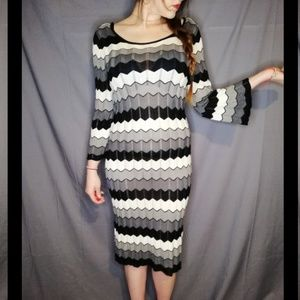 Jonathan Martin black-and-white Chevron midi dress